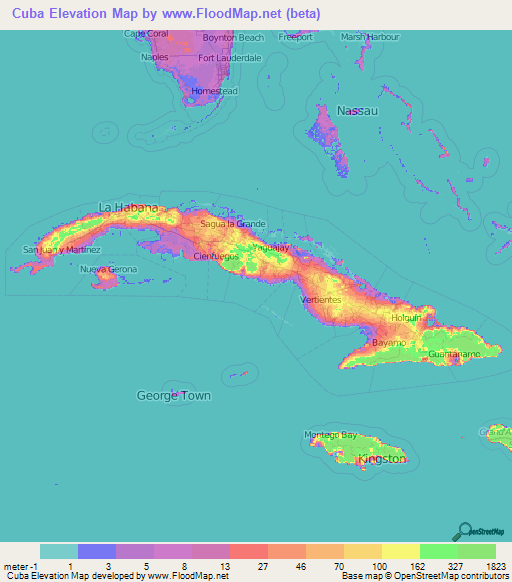 Cuba Elevation and Elevation Maps of Cities, Topographic Map Contour