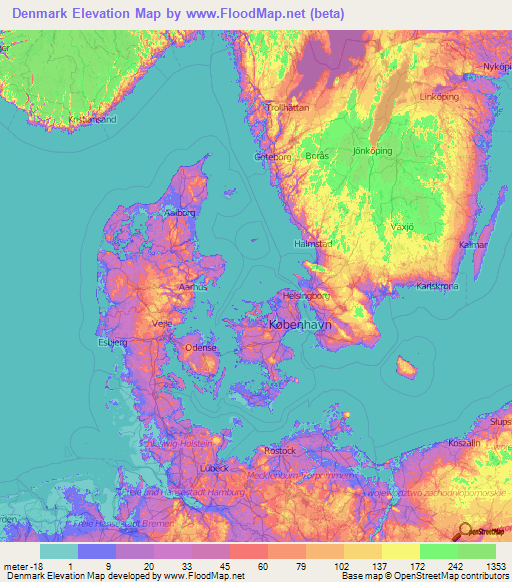Denmark Elevation and Elevation Maps of Cities, Topographic Map Contour