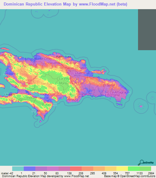 Dominican Republic Elevation And Elevation Maps Of Cities - Dominican republic map