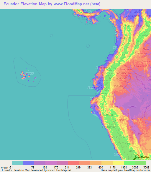 Ecuador Elevation and Elevation Maps of Cities, Topographic Map Contour