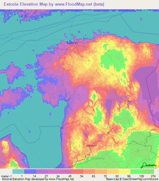 Estonia Elevation and Elevation Maps of Cities, Topographic Map Contour