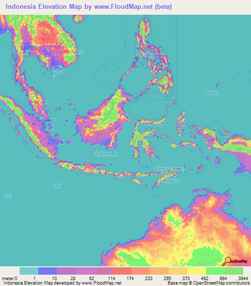 Indonesia Elevation And Elevation Maps Of Cities Topographic Map - Indonesia map