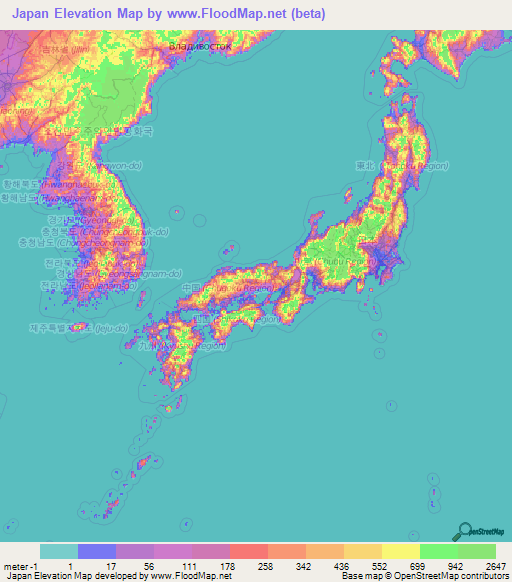 Japan Elevation And Elevation Maps Of Cities Topographic Map Contour - Japan map of cities