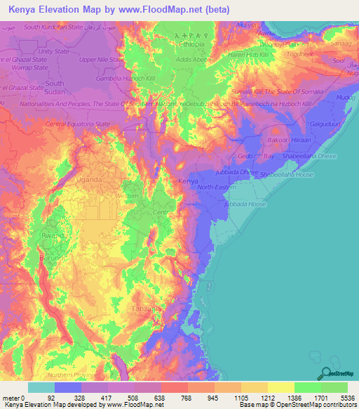 Kenya elevation and elevation maps of cities topographic map contour kenya elevation map gumiabroncs Images
