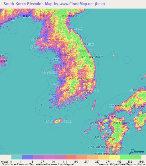 South korea elevation and elevation maps of cities topographic map south korea elevation map gumiabroncs Images