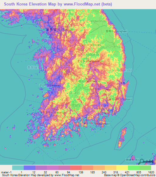 Osan South Korea Map.South Korea Elevation And Elevation Maps Of Cities Topographic Map