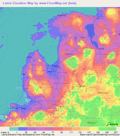 Latvia Elevation and Elevation Maps of Cities, Topographic Map Contour