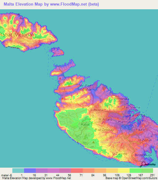 Malta Elevation And Elevation Maps Of Cities Topographic Map Contour - Malta map