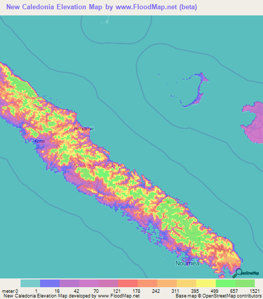 New Caledonia Elevation And Elevation Maps Of Cities Topographic - New caledonia map