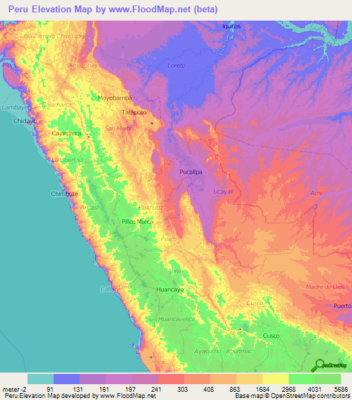 Peru Elevation And Elevation Maps Of Cities Topographic Map Contour - Peru major cities map