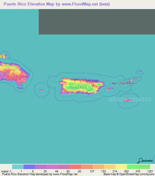 Puerto Rico Elevation And Elevation Maps Of Cities Topographic - Puerto rico cities towns map