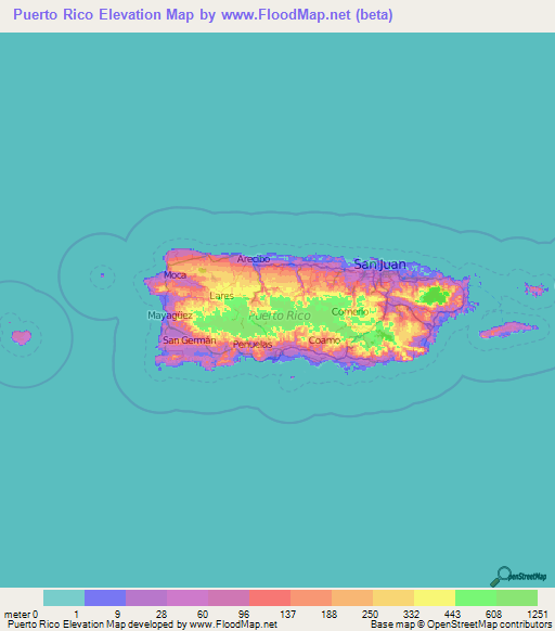 Puerto Rico Elevation And Elevation Maps Of Cities Topographic - Puerto rico maps