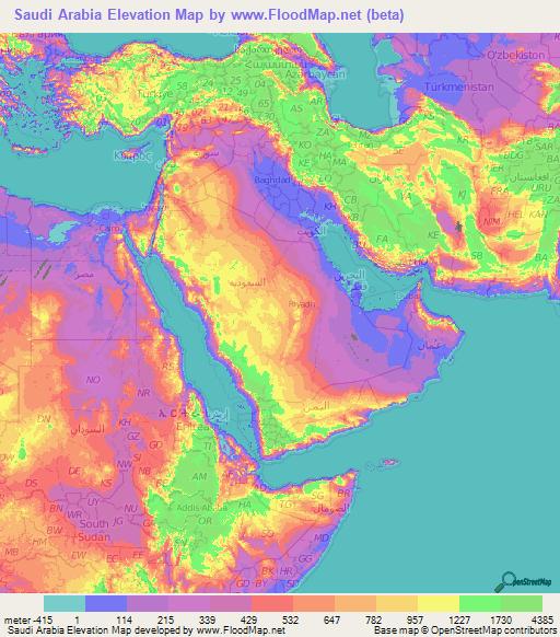 Topographic Map Of Saudi Arabia.Saudi Arabia Elevation And Elevation Maps Of Cities Topographic Map