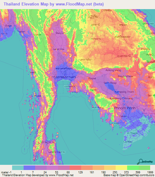 Thailand Elevation and Elevation Maps of Cities Topographic Map