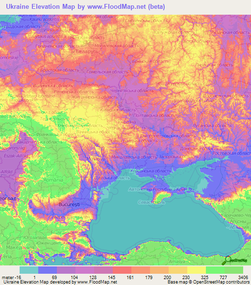 Ukraine Elevation and Elevation Maps of Cities, Topographic Map