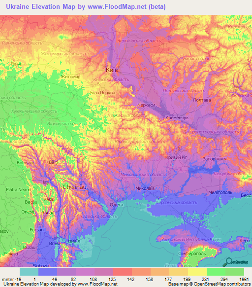 Ukraine Elevation and Elevation Maps of Cities Topographic Map