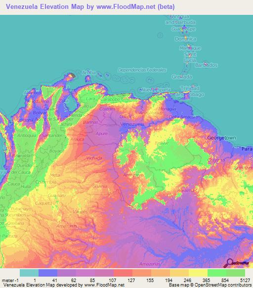 Venezuela Topographic Map.Venezuela Elevation And Elevation Maps Of Cities Topographic Map