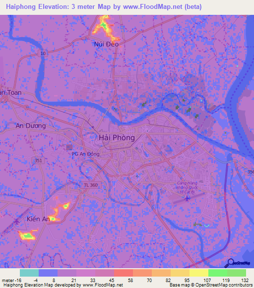 Haiphong Vietnam Map.Elevation Of Haiphong Vietnam Elevation Map Topography Contour