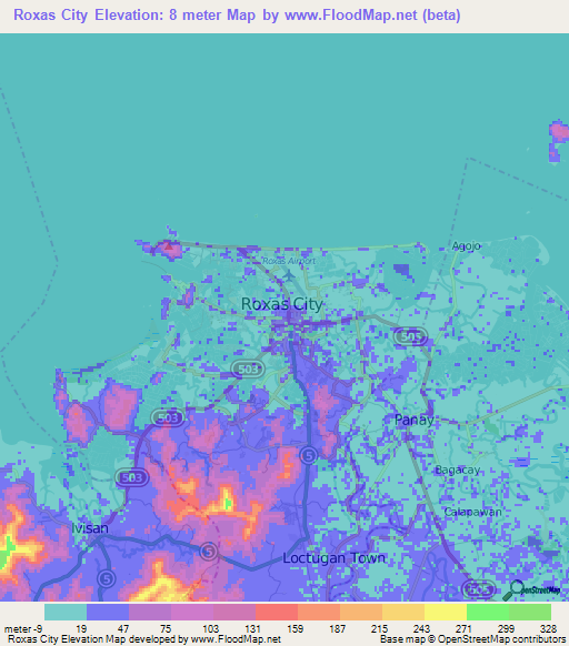 Elevation Of Roxas CityPhilippines Elevation Map Topography Contour - Roxas map