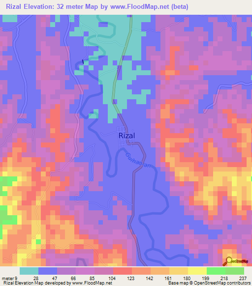 Rizal Philippines Map.Elevation Of Rizal Philippines Elevation Map Topography Contour