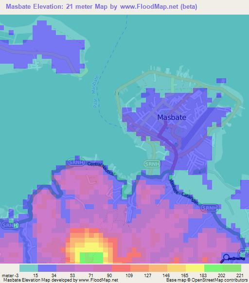 Masbate Philippines Map.Elevation Of Masbate Philippines Elevation Map Topography Contour