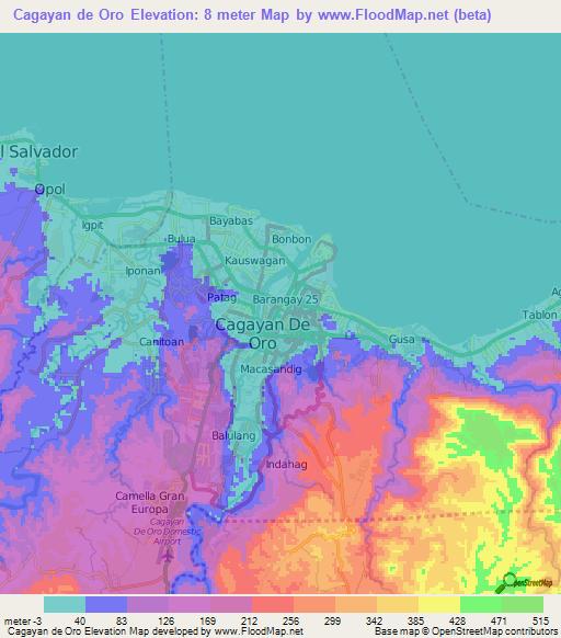 Cagayan Philippines Map.Elevation Of Cagayan De Oro Philippines Elevation Map Topography