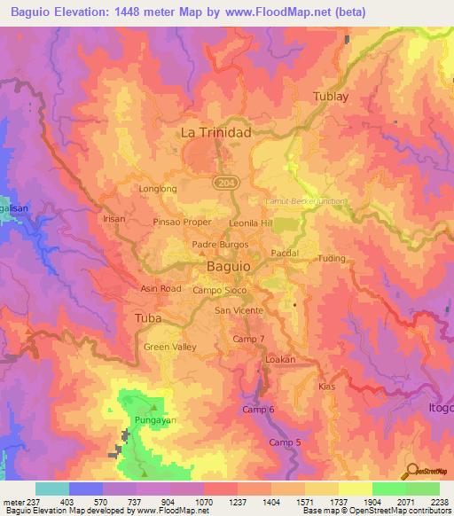 Elevation Of BaguioPhilippines Elevation Map Topography Contour - Baguio map