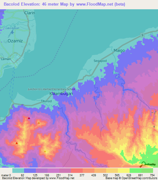 Elevation Of BacolodPhilippines Elevation Map Topography Contour - Bacolod map