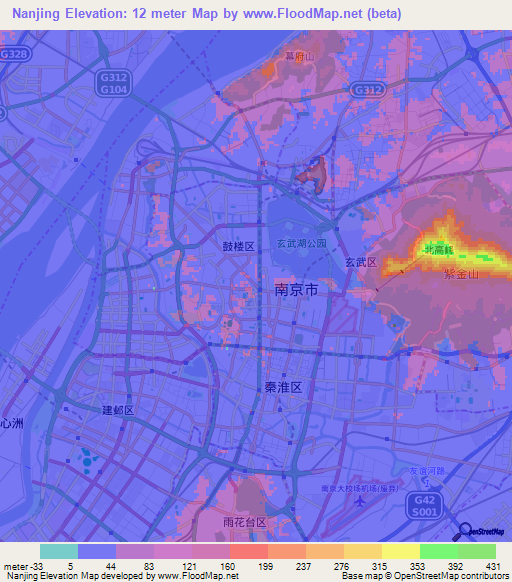 Elevation of nanjingchina elevation map topography contour nanjingchina elevation map gumiabroncs Image collections