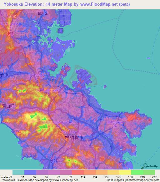 Elevation Of Yokosuka Japan Elevation Map Topography Contour