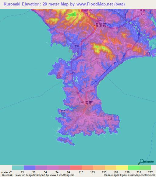 Elevation Of KurosakiJapan Elevation Map Topography Contour - Japan elevation map