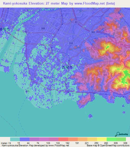 Elevation Of Kami Yokosuka Japan Elevation Map Topography Contour