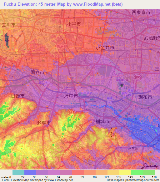 Elevation Of FuchuJapan Elevation Map Topography Contour - Fuchu map
