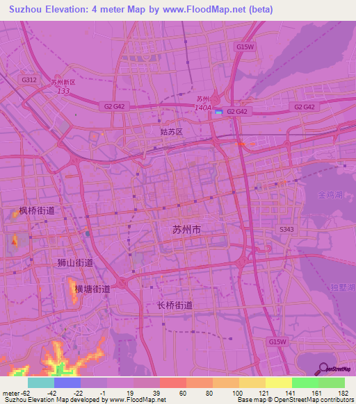 Elevation Of SuzhouChina Elevation Map Topography Contour - Suzhou map