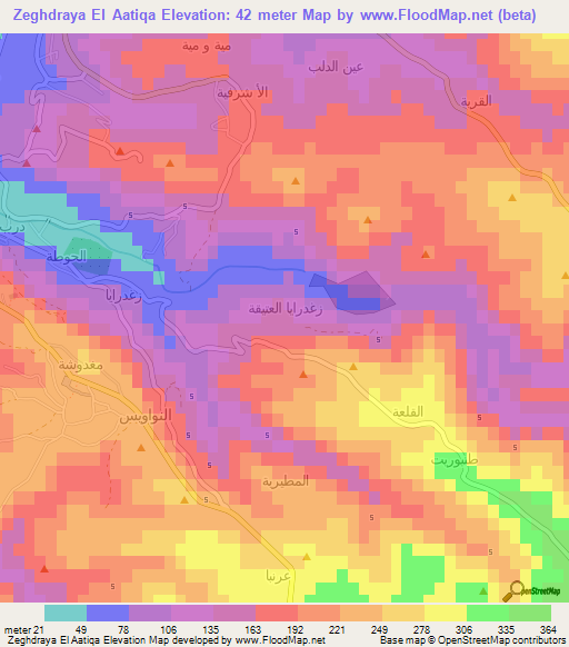 Zeghdraya El AatiqaLebanon Elevation Map