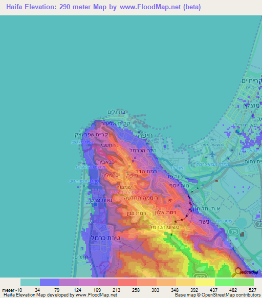 Elevation Of Haifa Israel Elevation Map Topography Contour