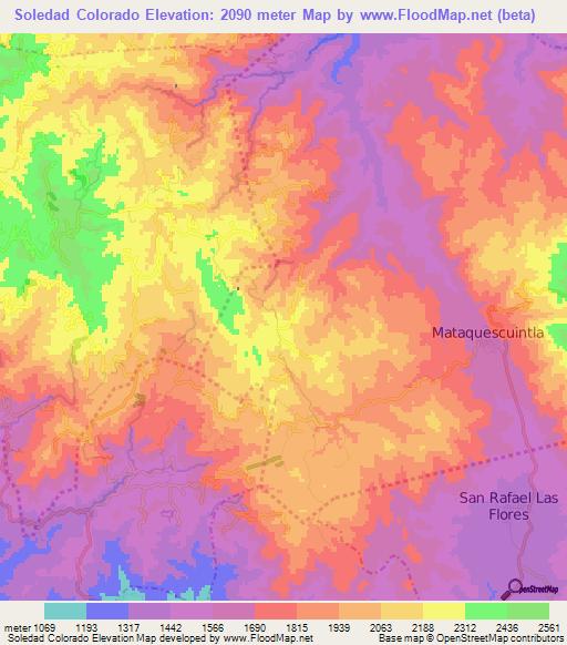 Colorado Elevation: Elevation Of Soledad Colorado,Guatemala Elevation Map