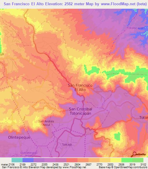 Elevation Of San Francisco El Alto Guatemala Elevation Map