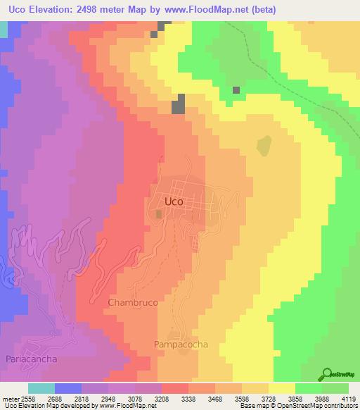 Elevation Of Ucoperu Elevation Map Topography Contour