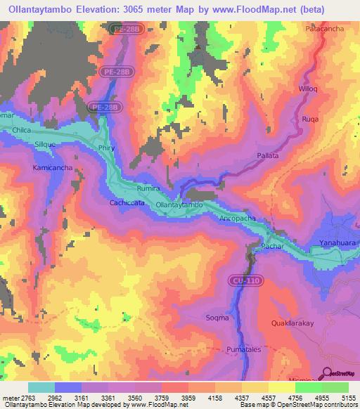 Elevation Of Ollantaytambo Peru Elevation Map Topography Contour