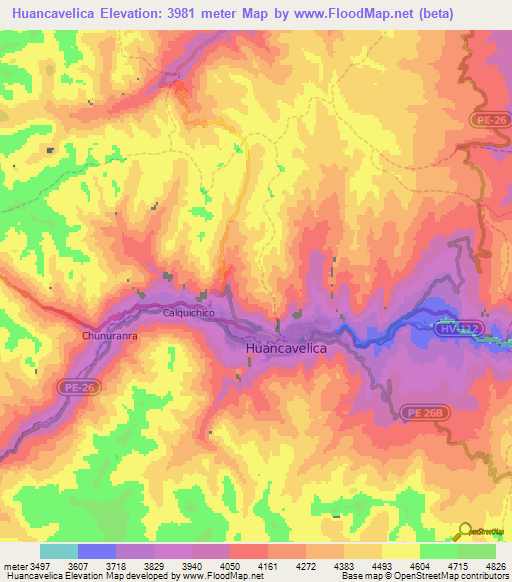 Elevation Of Huancavelica Peru Elevation Map Topography Contour