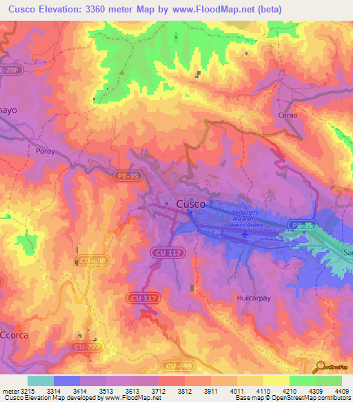 Elevation Of Cusco Peru Elevation Map Topography Contour