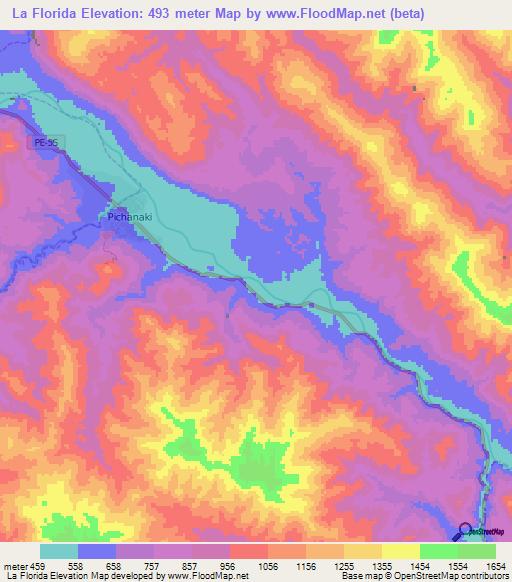 Topography Map Florida.Elevation Of La Florida Peru Elevation Map Topography Contour