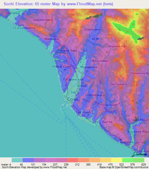 Elevation Of SochiRussia Elevation Map Topography Contour - Sochi map