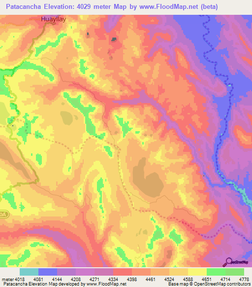 Elevation Of Patacancha Peru Elevation Map Topography Contour