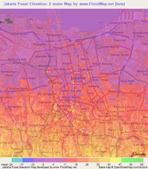 Map Jakarta.Elevation Of Jakarta Pusat Indonesia Elevation Map Topography Contour