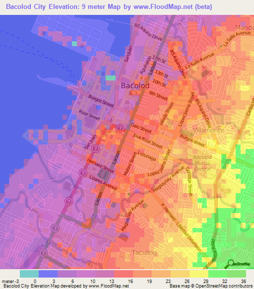Elevation Of Bacolod CityPhilippines Elevation Map Topography - Bacolod map