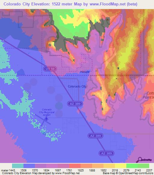 Elevation Of Colorado CityUS Elevation Map Topography